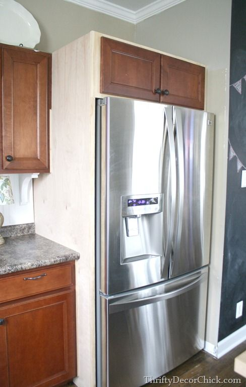 Building In A Fridge With Cabinet On Top Refrigerator Cabinet Diy Home Improvement Home Diy