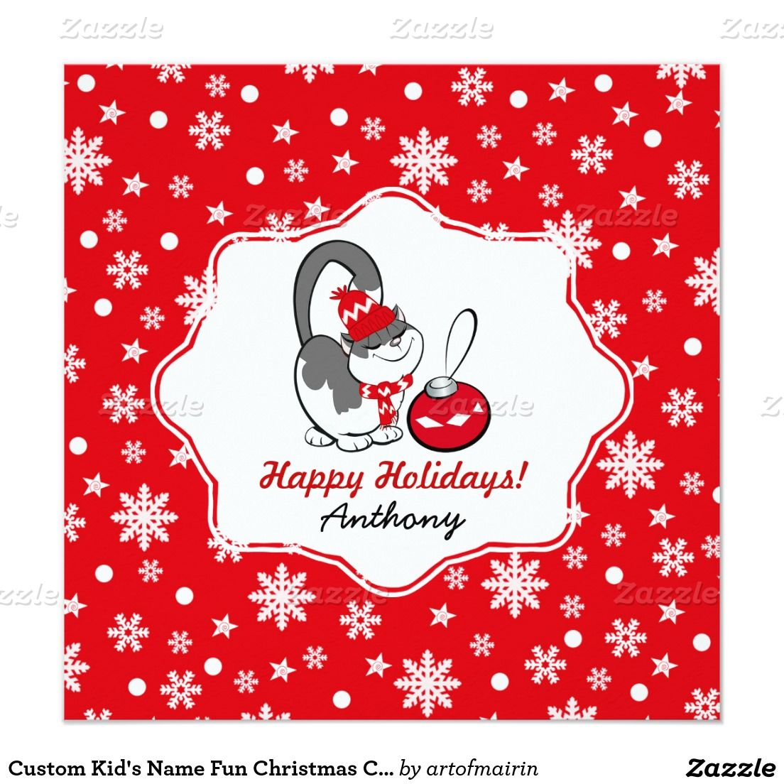 Custom Kids Name Fun Christmas Cards For Kids