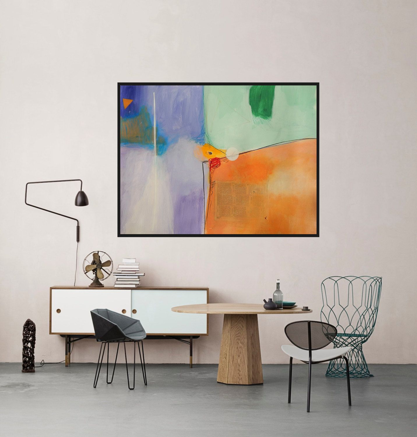 Wall art 100 x 70 - Modern Artwork Green Orange Purple White Abstract Art Big Painting Contemporary Painting Colorful Modern Wall Decor Mixed Media 100 X 70 Cm