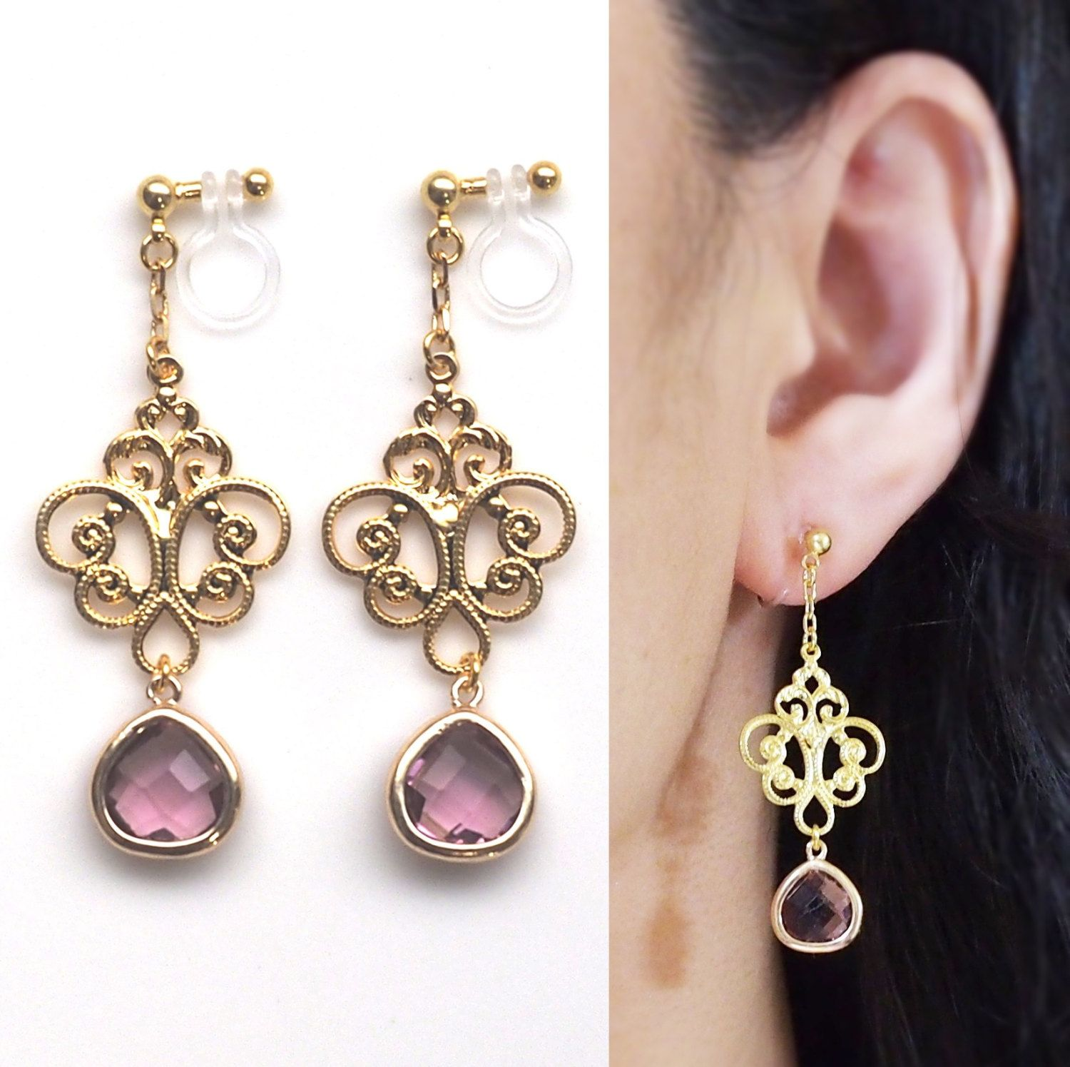 Dangle Gold Motif And Purple Teardrop Crystal Invisible Clip On Earrings By  Miyabigrace These Invisible