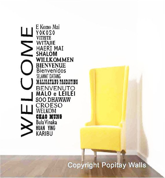 Welcome Wall Decor welcome wall decals, international office, welcome decor, office