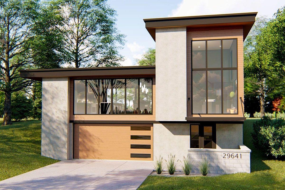 Plan 62726dj Striking Modern House Plan With Courtyard And Drive Under Garage In 2021 Courtyard House Plans Contemporary House Plans Modern House Plan