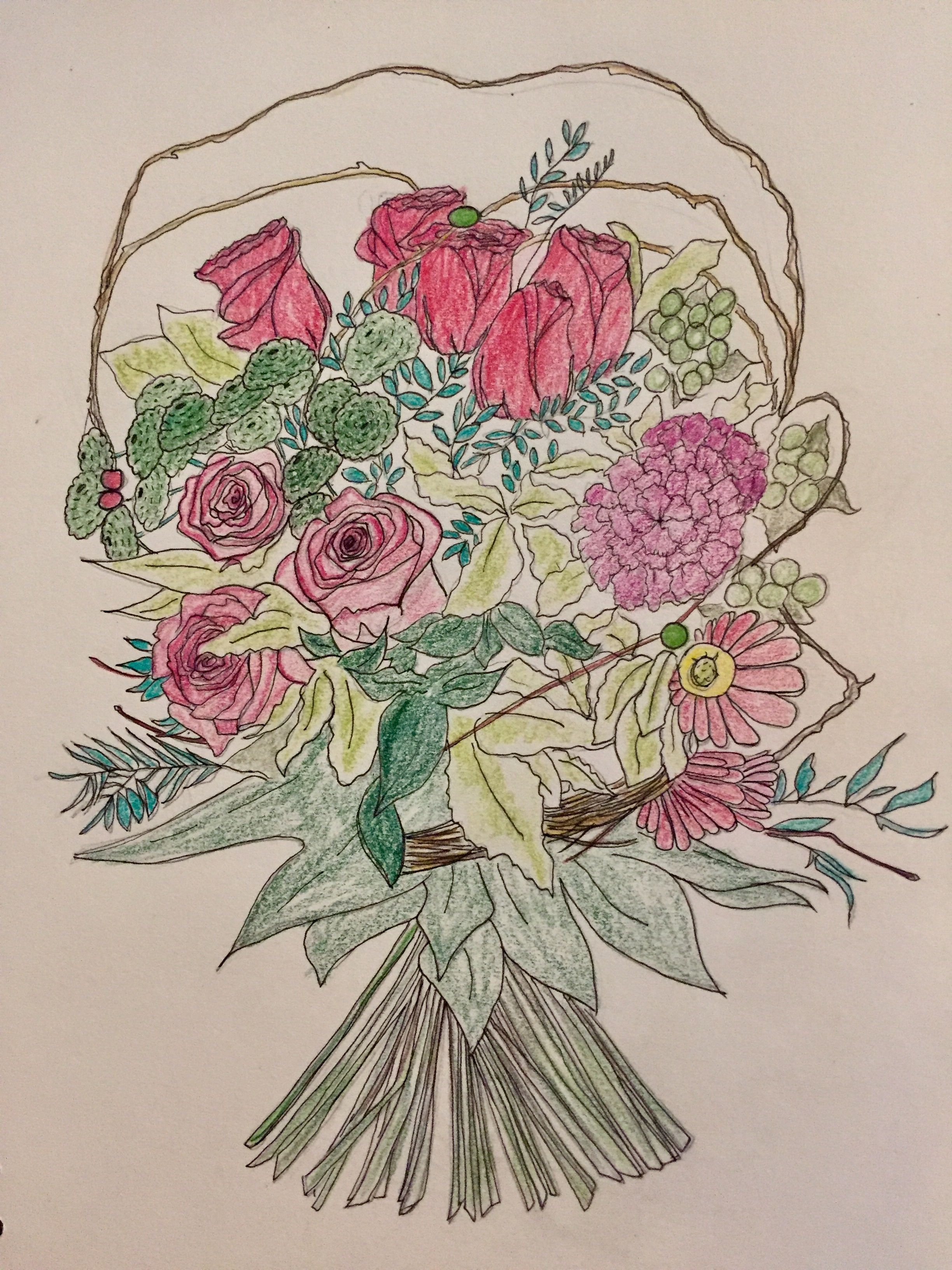 Hand Tied with tails sketch .. FDA Professional floristry