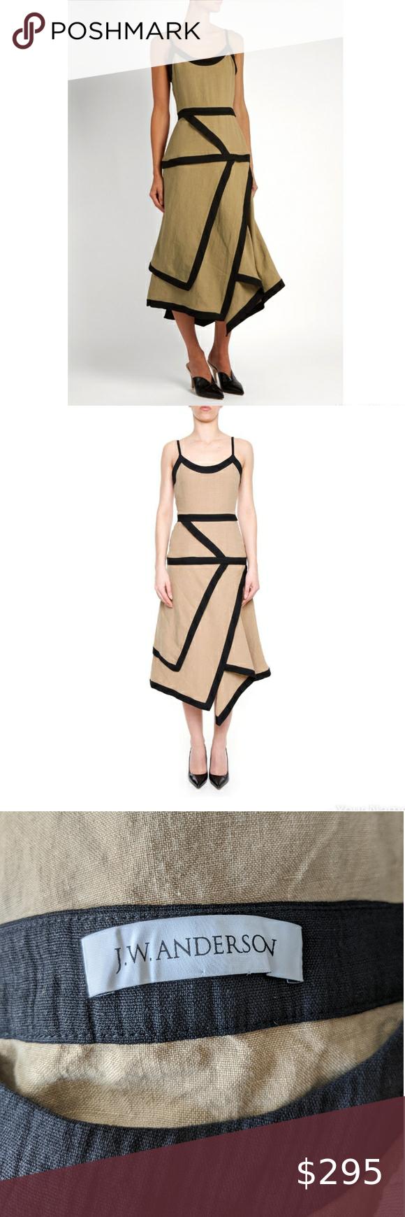 Photo of J.W. Anderson Linen Tan Black Origami Dress size 2 Gorgeous designer summer dres…