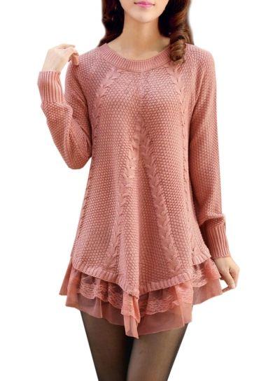 Women's Stylish Round Neck Asymmetric Loose Fit Knit Sweater