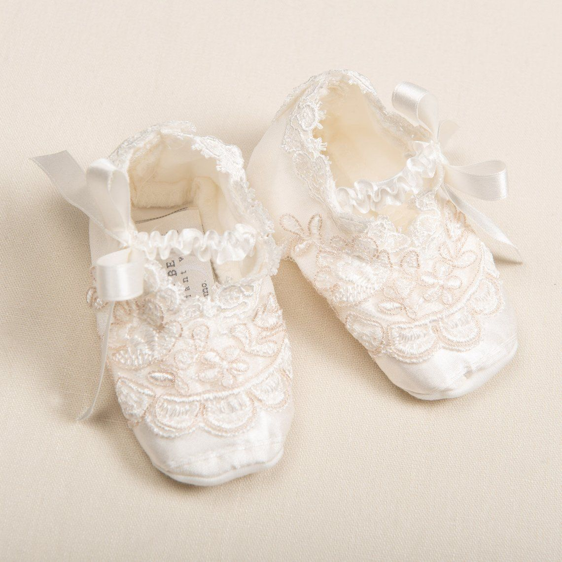 f242b8c4f2b5f Baby Girl Silk Booties 'Penelope' | Baby Girl Lace Booties | Silk ...