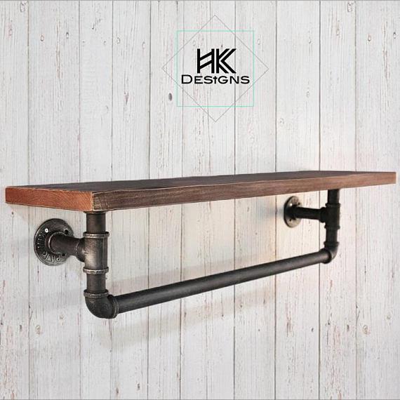 Rustic - Industrial Wood Shelf / Towel Rack