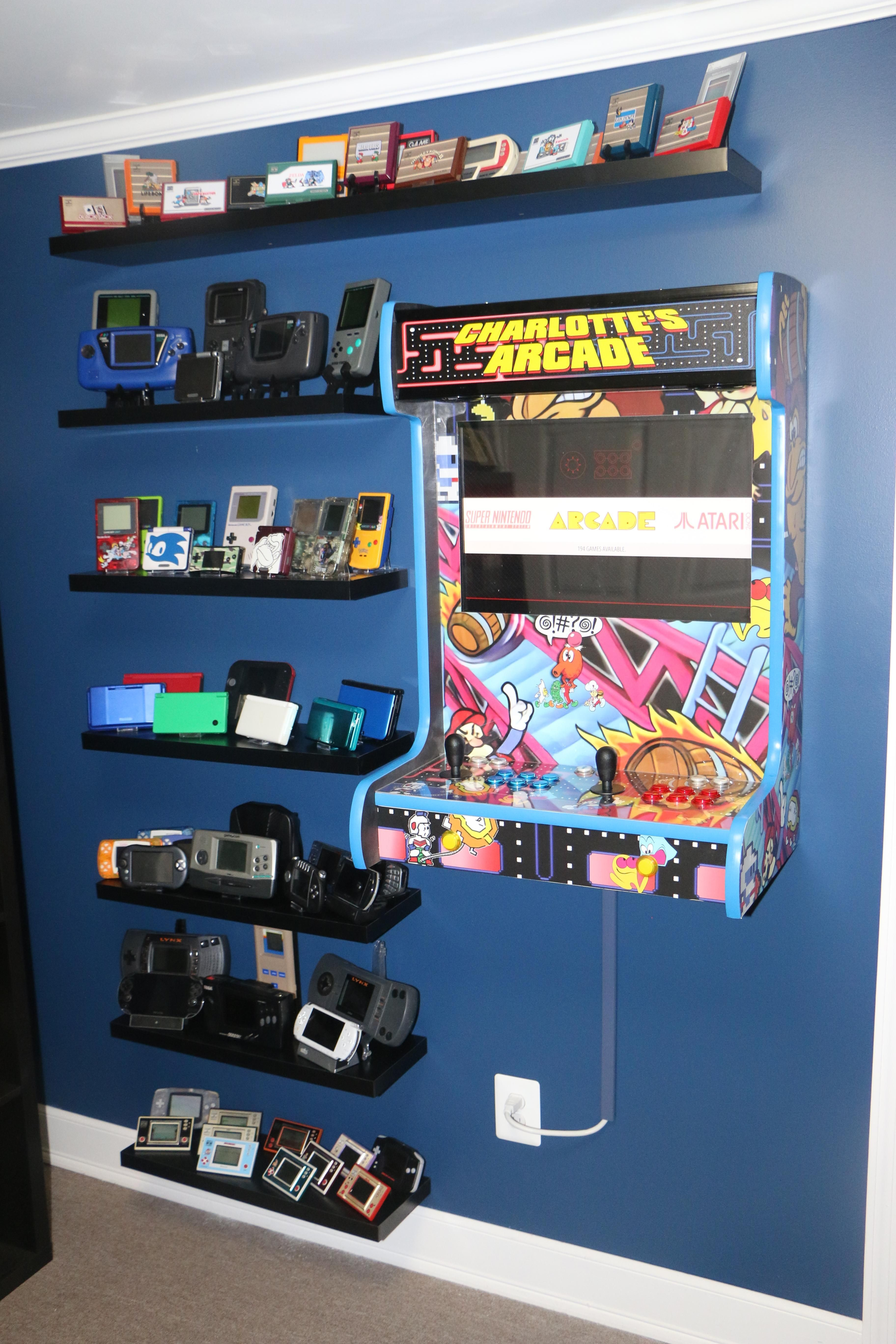Wardrobe hammer power drill shelving braces wood screws screwdriver tv wall mount cord covers surge protectors spotlights square table light base coat of paint two darker shades of paint. Retro Gaming Wall - Handheld Collection Shelves and wall ...