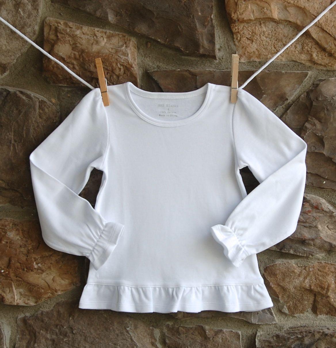 5ded15a1d Girls Ruffle Long Sleeve Shirt  ARB Blanks