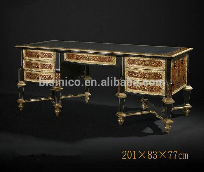 Luxury Royal Home Office Furniture Imperial Wood Carved Executive Le Gold Painted