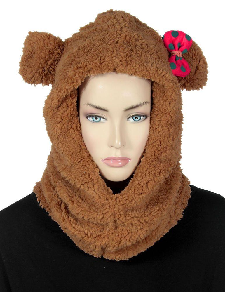 Women Winter Fashion Warm Hat Scarf One-piece Hooded Slouchy Cap Shawl #Simplicity #HoodedSlouchyCapShawl