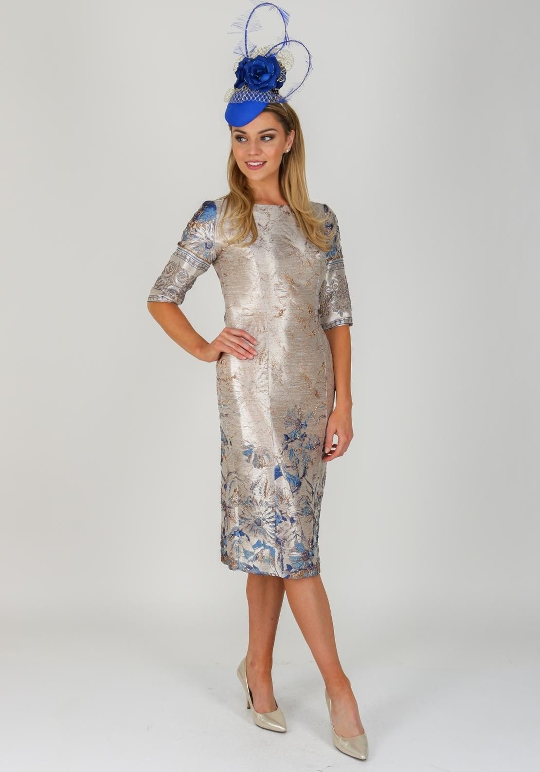 d1b8d4592a22 Featuring an ornate blue and bronze floral inspired embossed print  throughout, this chic gold dress from Fely Campo would be a luxurious  choice for a