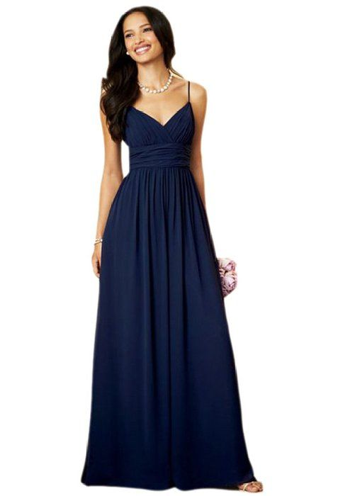 c2fc981e4d6 Heartgown Women s Spaghetti Straps A Line Long Chiffon Ruffle Bridesmaid  Dresses Navy Blue US10