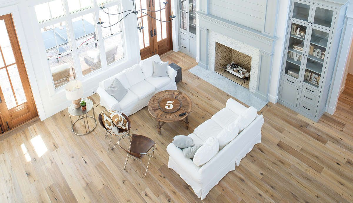 Living Room With Painted Tongue Groove Wood Paneling Custom Milled To Shiplap Look Florida Home White Oak Floors Home
