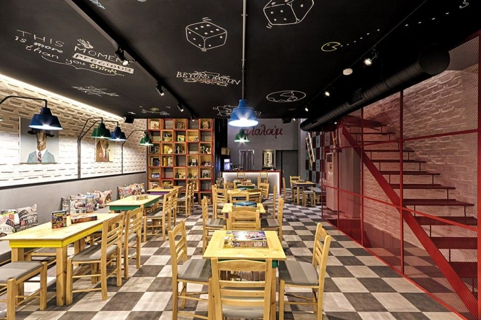 Alaloum Board Game Cafe By Triopton Architects Game Cafe Board Game Cafe Cafe Interior Design