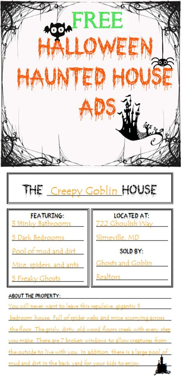 Free Haunted House Advertisement Activity - Grades 2-5 Halloween - halloween writing ideas