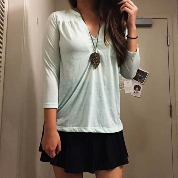 "Quarter sleeve blouse Light mint green. Quarter sleeves. In ""mint"" condition 😉 rarely used. H&M Tops Blouses"