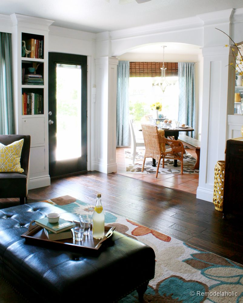 Living Room Remodel with yellow accents wood floors and built-in ...