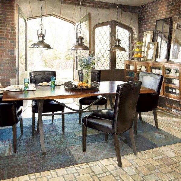 küchen ideen lederstühle stilvoller teppich industrielle lampen - teppiche für die küche