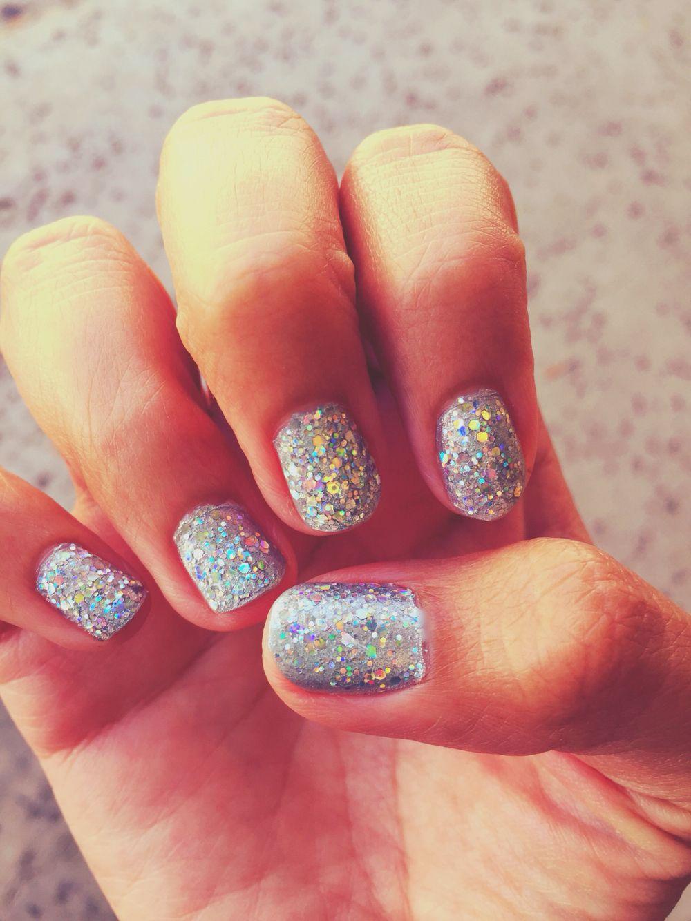 Silver glitter nails! Summer nails