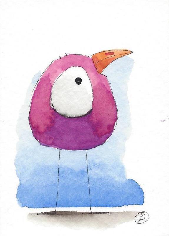 ACEO Original watercolor art painting Lucia Stewart whimsical purple bird #IllustrationArt