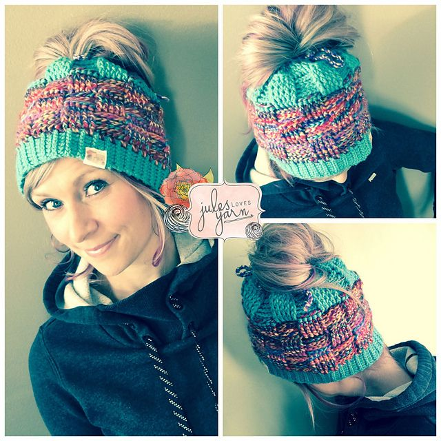 Basket Weave Bun Beanie Hat Crochet Pinterest Ponytail Yarns