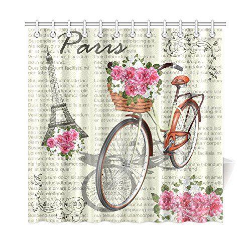 Romantic Roses Paris, Eiffel Tower, Vintage Bicycle Shower Curtain