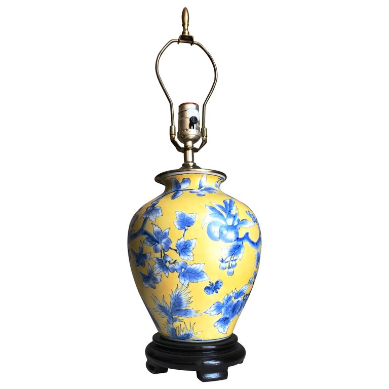 Vintage Chinoiserie Yellow And Blue Ginger Jar Porcelain Urn Lamp