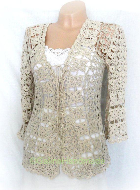 Crochet Summer Jacket Original Designe Irish Lace Beige   compras ...