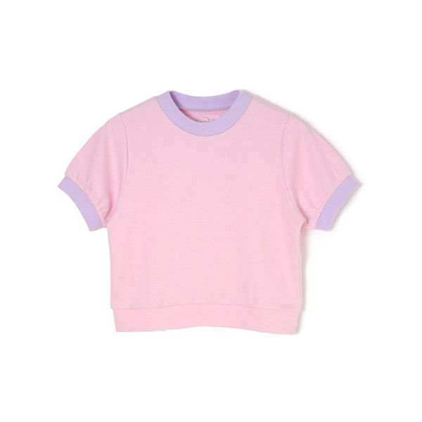 f6fccca5b46 カノコトリムTOPS ❤ liked on Polyvore featuring tops, shirts, t-shirts, pink shirt,  bubble top, shirts & tops, pink top and bubble shirts