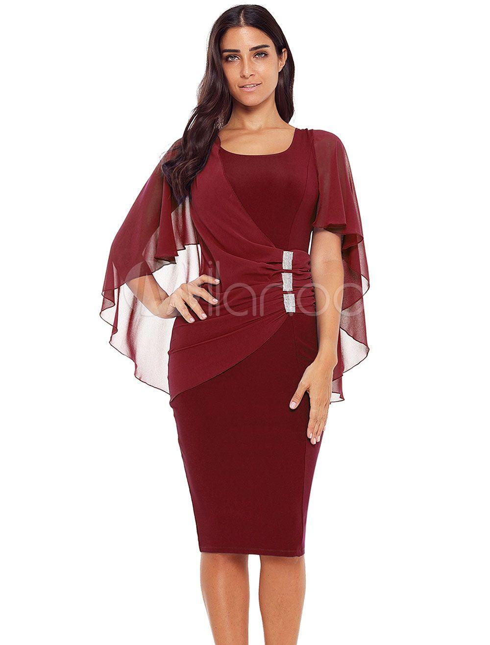 e92fde85047 Women Bodycon Dress Half Sleeve Midi Dress U Neck Ruched Rhinestones  Shaping Party Dress  Sleeve