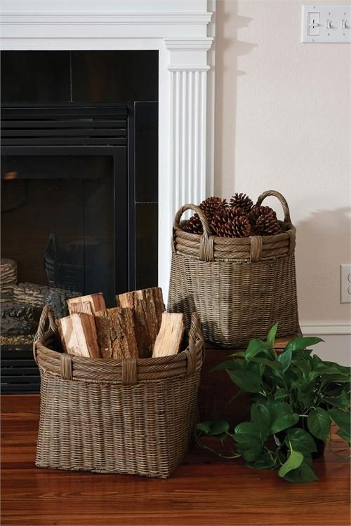 Round Gray Baskets with Handles - Set of 2 | Three rings, Living ...