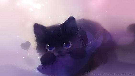 Are You Lonely Black Cat Anime Cute Anime Cat Cat Art