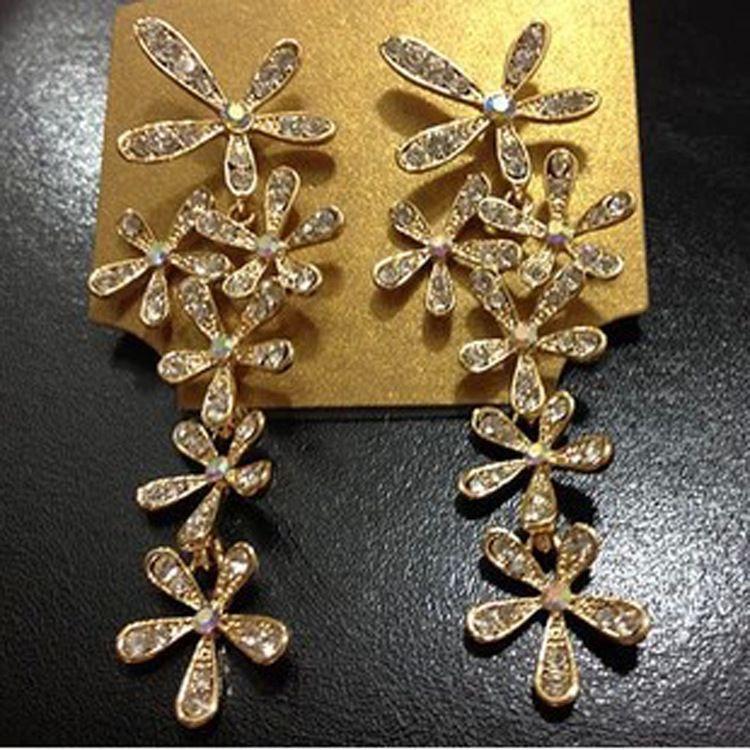 Nappa Esagerazione Retro Diamante Cristallo Corea Orecchino Strass Orecchini Orecchino Sezione lunga Fiori