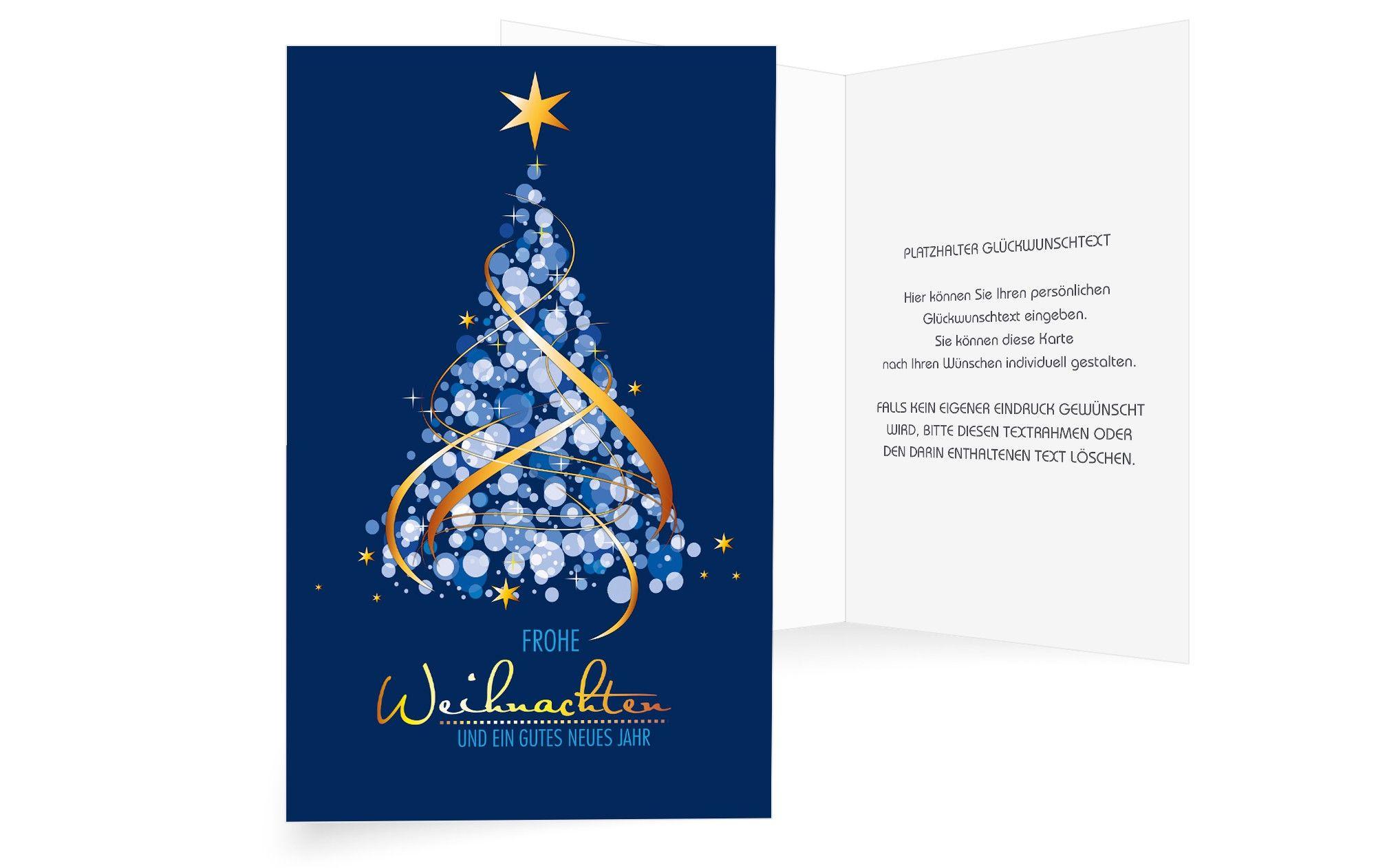 """Elegante Weihnachtskarte """"Blue Harmony"""" in 5  Weihnachtskarten"""