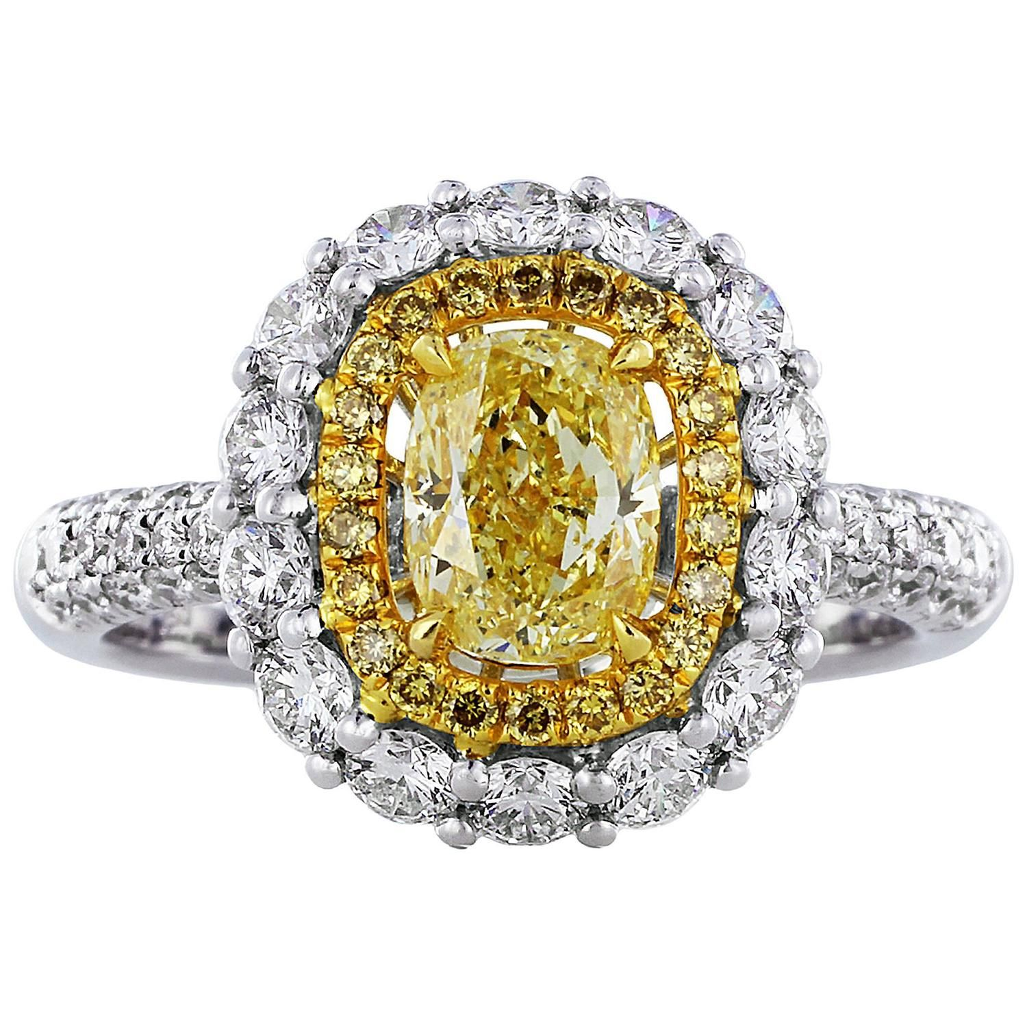 1 00 Carat Cushion Cut Canary Diamond Gold Cluster Ring
