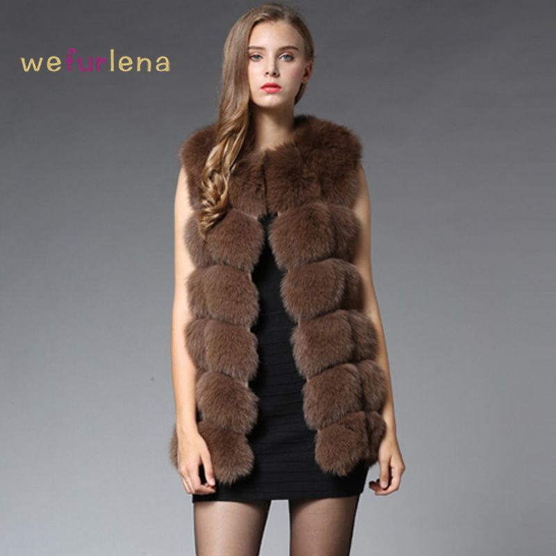 70CM Real Fur Vest 2017 Winter Thick Silver Fur Coat Jackets for ...