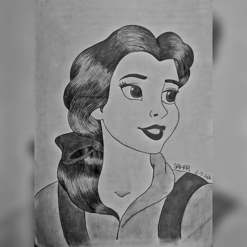 رسم الاميره بيل Painting The Princess Belle Aurora Sleeping Beauty Disney Characters Art