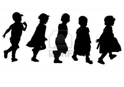 Los Ninos Pequenos De Dibujo Vectorial Siluetas Sobre Fondo Blanco Dibujo Vectorial Siluetas Ninos Caminando