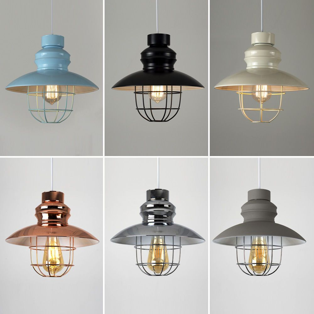 Vintage Pendant Light Shade Industrial LED Metal Cage Ceiling Pattern Lampshade