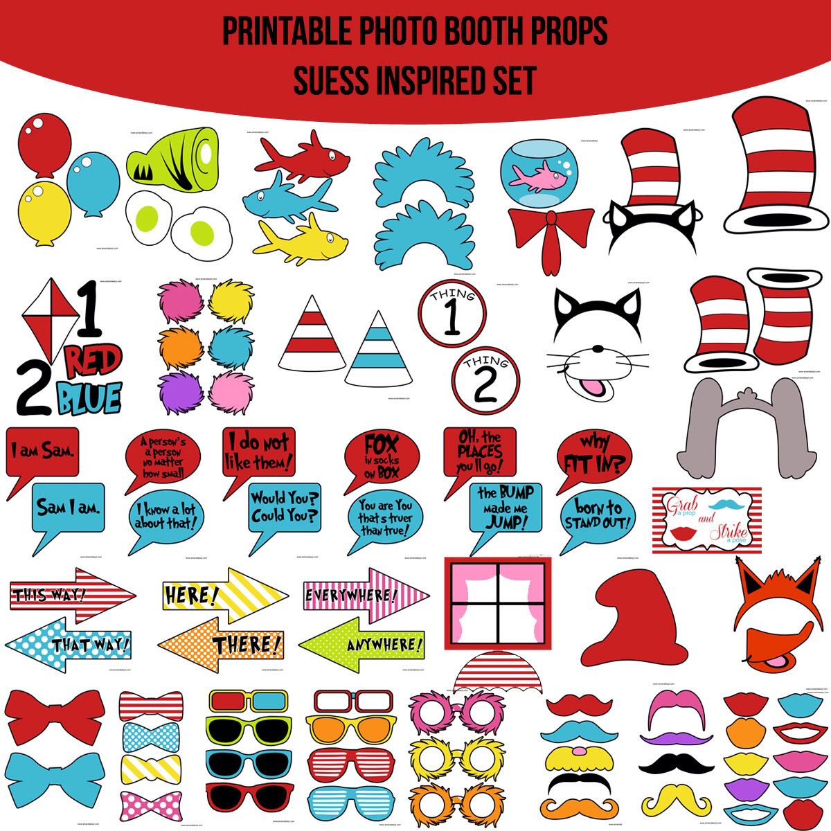 Instant Download Dr Suess Inspired Cat In By Amandakprintables Photobooth Props Printable Photo Booth Props Diy Photo Booth Props