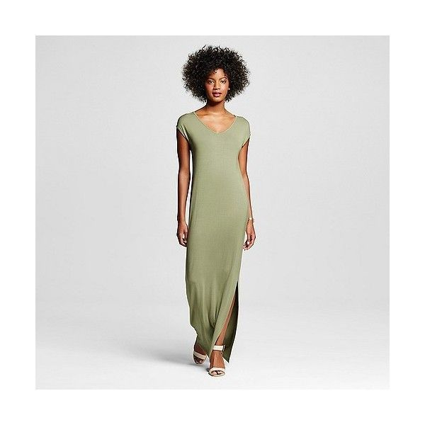Women's T-Shirt Maxi Dress Olive ($30) ❤ liked on Polyvore featuring dresses, green, army green dress, military green dress, maxi dress, olive green dress and jersey knit dress