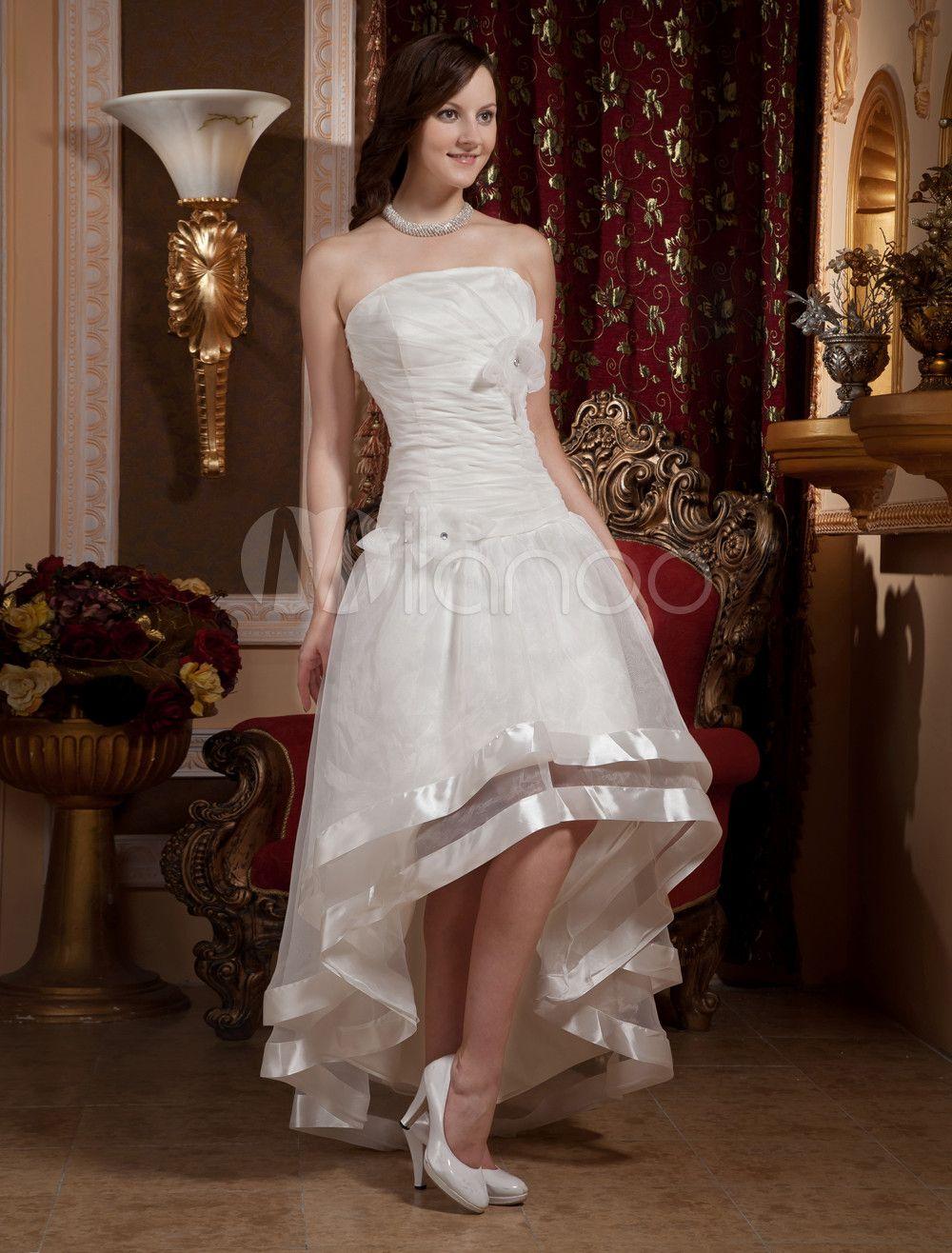 Pretty Ivory Strapless A-line Organza Floor Length Wedding Dress - Milanoo.com