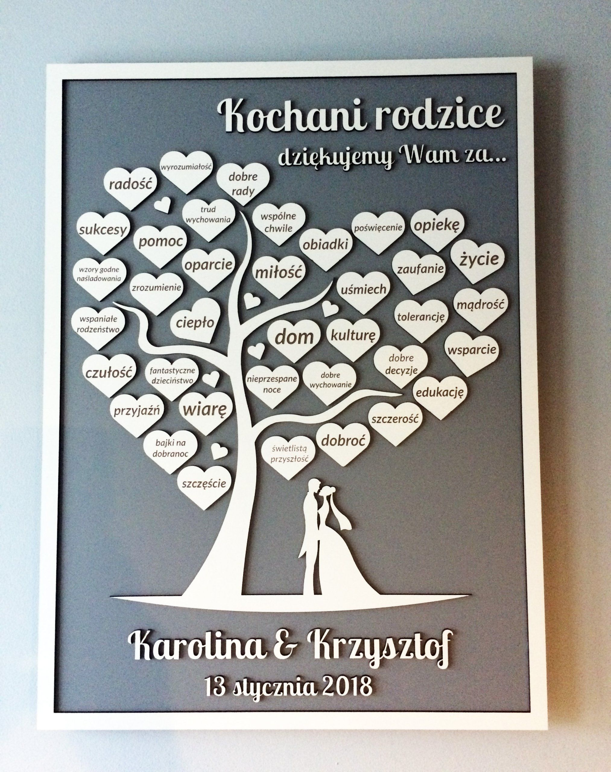 Podziekowania Dla Rodzicow Drzewko Grawer 7126233296 Oficjalne Archiwum Allegro Friend Birthday Gifts Wooden Hearts Wedding