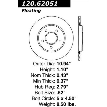 Stoptech 126.62051sr StopTech Sport Rotors; Rear Right; 10.94 in. Dia.; 1.10 in. Height;