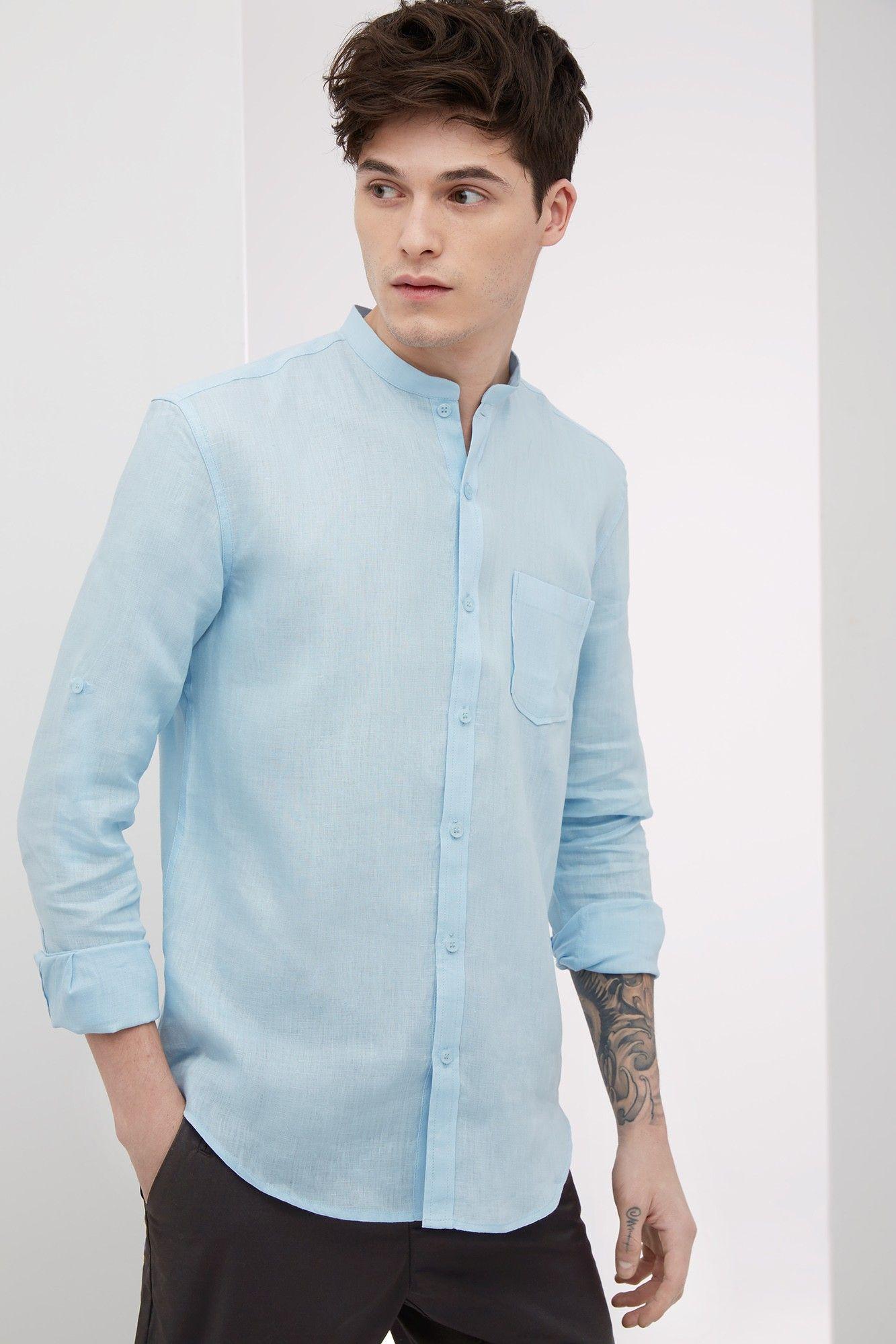 529c45f6b0 Camisa de lino con cuello mao - u man