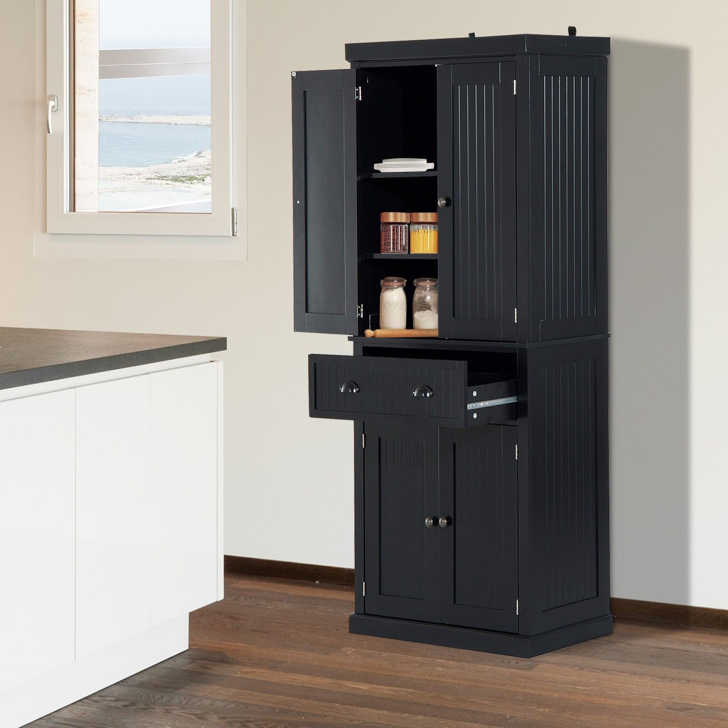 Black Pantry Cabinet For Kitchen