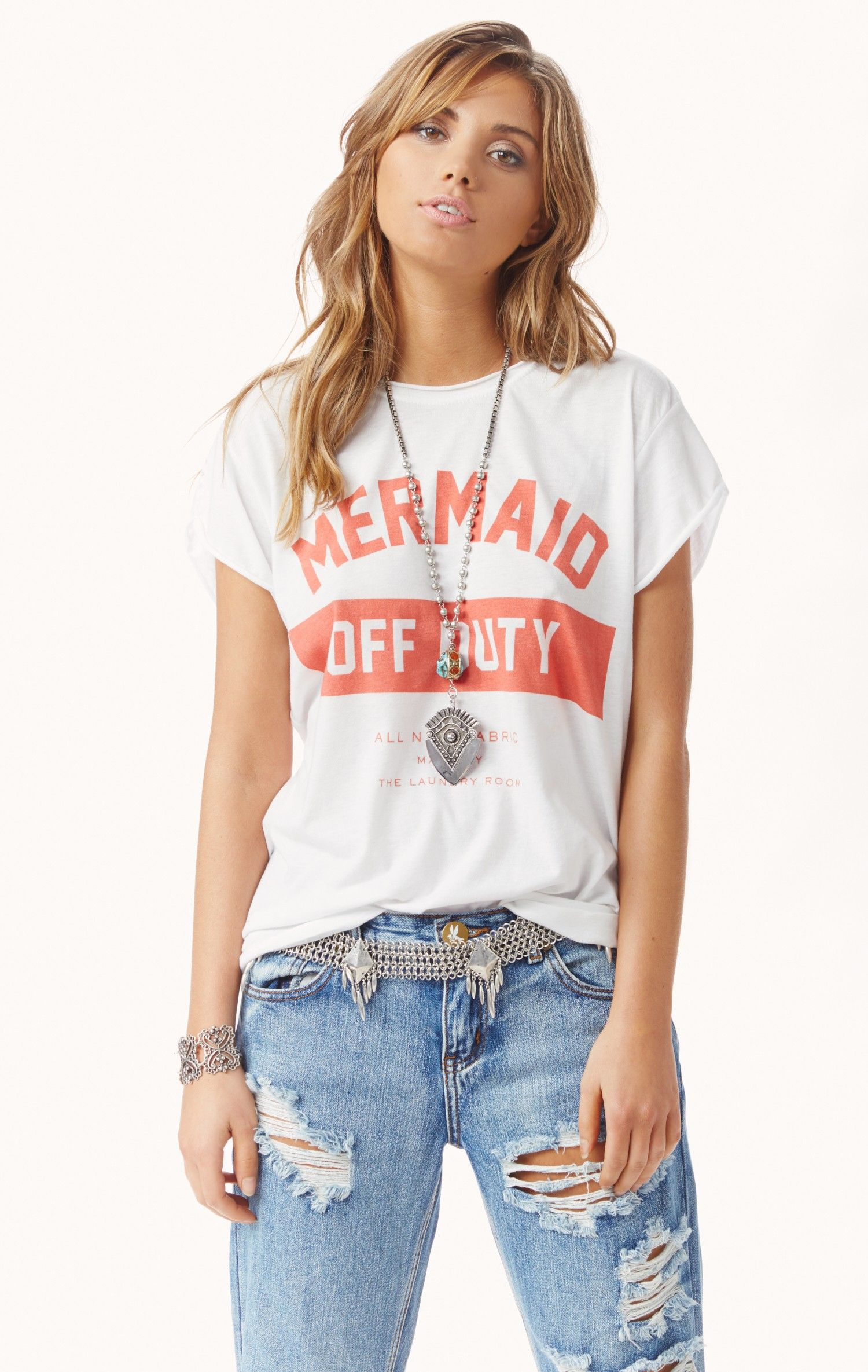 a1fec3a88857c mermaid off duty tee by THE LAUNDRY ROOM #planetblue | NEW ARRIVALS ...