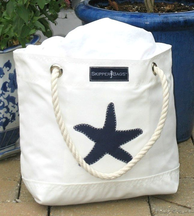 Navy Blue Starfish Beach Nautical Tote bag! Nautical Anchor Tote Bag - Rope handles - Beach and Nautical totes constructed from Marine - Outdoor grade fabrics and finishings!http://www.purseladytoo.com/skipper-bags/