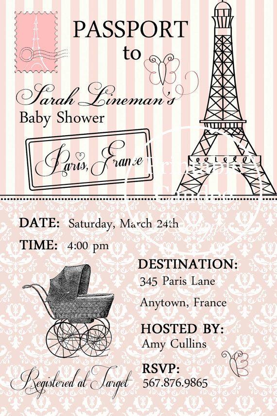 Passport To Paris Baby Shower Invitation By Printablecandee